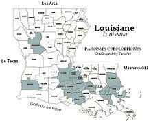 Map of Creole-Speaking Parishes in Louisiana.JPG