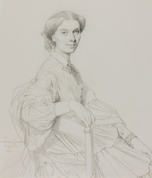pencil drawing of seated young woman with dark hair looking towards the viewer