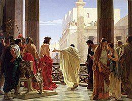 A depiction of Jesus' public trial