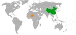 China和Niger在世界的位置