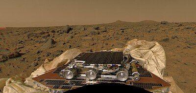 Mars Pathfinder rover after landing on Mars.jpg