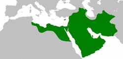 654年,正统哈里发国鼎盛时期(深绿)。