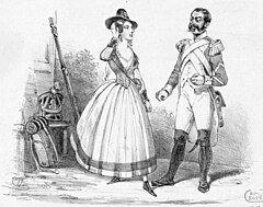 Roles de Melle Borghèse et Henri dans la Fille du Régiment (Chronique des Theâtres, 1840 - Gallica (adjusted)).jpg