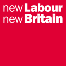 """A red rectangle with the words """"new Labour new Britain"""" in white letters across the top"""