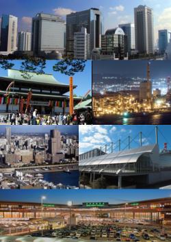 从左至右往下依序:幕张新都心业务研究地区、成田山新胜寺、京叶工业地带、千叶港中央地区、幕张展览馆、成田国际机场第1航厦