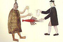 A Māori man and a Naval officer trading, circa 1769