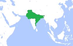 绿色为笈多王朝领土