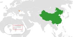 中国和摩尔多瓦在世界的位置