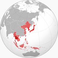 大日本帝国(大东亚共荣圈)的最大范围(1942年)。红色为日本本土;深红为泰国和自由印度;浅红为日本占领区或其它傀儡政权