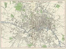 This map shows central Leeds and (clockwise from top left) the developing suburbs of Hyde Park, Woodhouse, Sheepscar, New Leeds, Cross Green, Hunslet, Holbeck, Wortley, Armley and Burley.