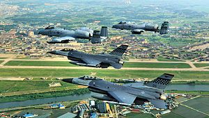 Osan Air Base 51 FW F-16 A-10 Flyby.jpg