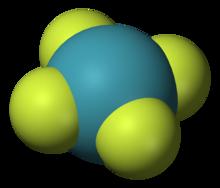 平面型分子模型,中间为氙原子,与四个氟原子对称键合。