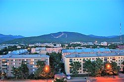 View over a residential area of Yuzhno-Sakhalinsk