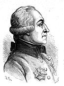 Black and white print of a man in profile wearing a coat with an award pinned to the breast. His hair is worn with curls at the ears in late 18th century style.