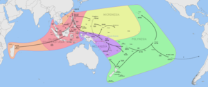 Chronological dispersal of Austronesian people across the Pacific (per Benton et al, 2012, adapted from Bellwood, 2011).png