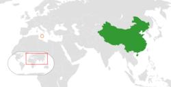 China和Malta在世界的位置