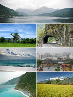 Top:Liyu Lake, Second left:A cigarette product house in Fenglin, Second right:Taroco Gorge in Cross Island Highway, Third left:Qixingtan Beach in Xincheng, Third right:Hualien Railroad Station, Bottom left:Cingshui Cliffs near Suhua Highway, Bottom right:A paddy field in Shoufeng, backyard in Central Mountain Range