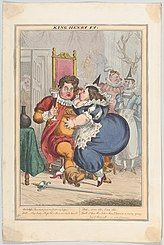 Cartoon of a fat George and canoodling an obese Lady Conyngham