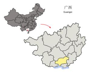图中高亮显示的是钦州市