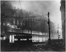 Bombing in Sheffield during the Sheffield Blitz, WW2.