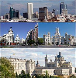 从上至下、从左至右: 马德里天际线、阿尔卡拉街、通讯宫、马德里王宫与阿穆德纳圣母主教座堂