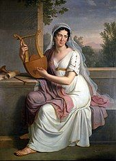 painting of young woman in long white frock with purple shawl; she holds a lyre