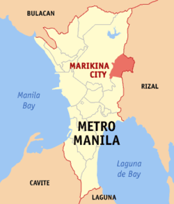 马利金纳市于马尼拉大都会位置图