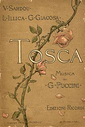 """Front cover decorated by a rose branch that curls from bottom left to top right. The wording reads: """"V. Sardou, L. Illica, G. Giacosa: Tosca. Musica di G. Puccini. Edizione Ricordi"""""""