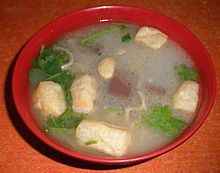 Duck blood and green bean noodle Soup 2010.JPG