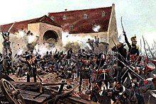 The storming of La Haye Sainte by Knötel