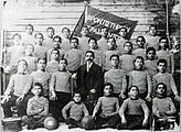Photograph of Pontian boys in sports uniforms.