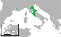 Map of the Papal states with the ecclesiastical enclave of Avignon in France.