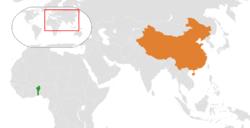 贝宁和中国在世界的位置