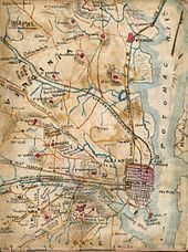 Hand-drawn map of part of Virginia with Potomac river on right. It shows railroads and Civil War forts.