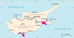 Location of Akrotiri (left) and Dhekelia (right) in pink on Cyprus (pink, grey, and beige)