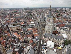 View of Ghent from the Cathedral with Belfry of Ghent and Saint Nicholas church visible