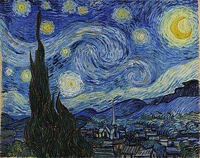 A landscape in which the starry night sky takes up two-thirds of the picture. In the left foreground a dark pointed cypress tree extends from the bottom to the top of the picture. To the left, village houses and a church with a tall steeple are clustered at the foot of a mountain range. The sky is deep blue. In the upper right is a yellow crescent moon surrounded by a halo of light. There are many bright stars large and small, each surrounded by swirling halos. Across the centre of the sky the Milky Way is represented as a double swirling vortex.