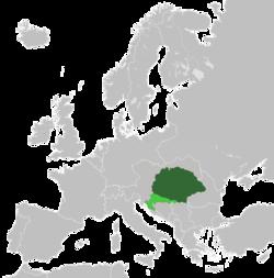 奥匈帝国下的匈牙利王国领土(1914年) (浅绿色为克罗地亚-斯拉沃尼亚王国)