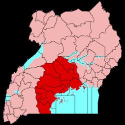 布干达王国在乌干达共和国的位置(红色)