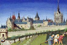 The Palais de la Cité and Sainte-Chapelle, viewed from the Left Bank, from the Très Riches Heures du duc de Berry (month of June) (1410)