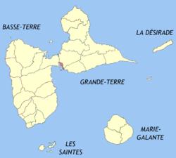 皮特尔角城市镇在瓜德罗普的位置