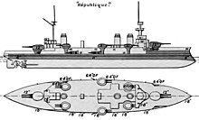 Top and side view showing the layout of the ships' major features. Large gun turrets are on either end of the ship, with six smaller turrets placed on the sides between them. The armored portion of the hull extends from the bow almost to the stern.