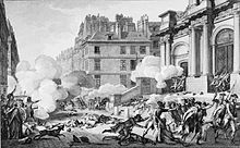 Etching of a street, there are many pockets of smoke due to a group of republican artillery firing on royalists across the street at the entrance to a building