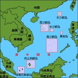 纳土纳群岛于南海位置图。