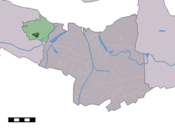 The town centre (dark green) and the statistical district (light green) of Biervliet in the municipality of Terneuzen.