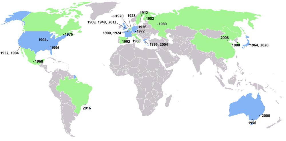 历届现代夏季奥运会举办地位置示意图。举办过一次夏季奥运会的国家用绿色表示,举办过两次及以上夏季奥运会的国家用蓝色表示。未来夏季奥运会用斜体表示(2020年、2024年、2028年)。