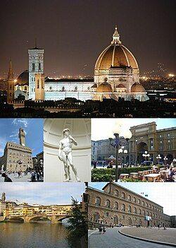 佛罗伦萨名胜,由上顺时针:圣母百花大教堂、共和广场、碧提宫、老桥、旧宫。中央:米开朗基罗的大卫像