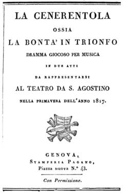 Gioachino Rossini - La Cenerentola - titlepage of the libretto - Genoa 1817.png