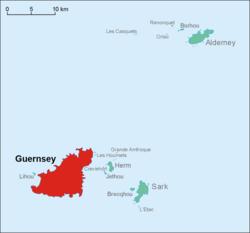 根西岛在根西行政区的位置