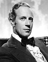 Portrait of Leslie Howard, a British actor in tux and bowtie
